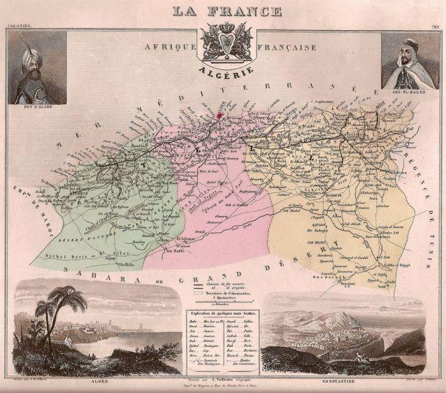 Mapa de los tres departamentos franceses de Argelia en 1877 durante la época colonial: Oran, Argel y Constantina. Autor:  Alexandre Vuillemin (1812-1880) (1812-1880). Fuente: photograph of c. 1880 map