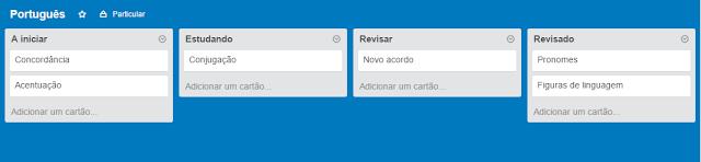 Quadro de estudos de Português no Trello