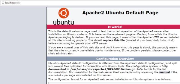Apache rodando na VM