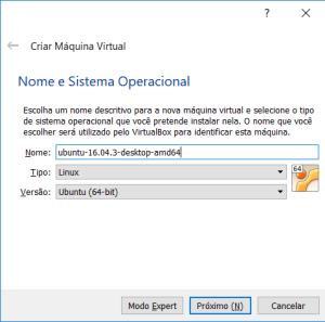 Criação da VM do Ubuntu