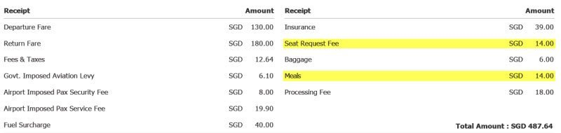 $490 bill from Scoot, Taiwan Solo Trip