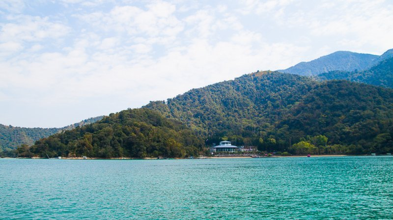 view of sun moon lake from ferry