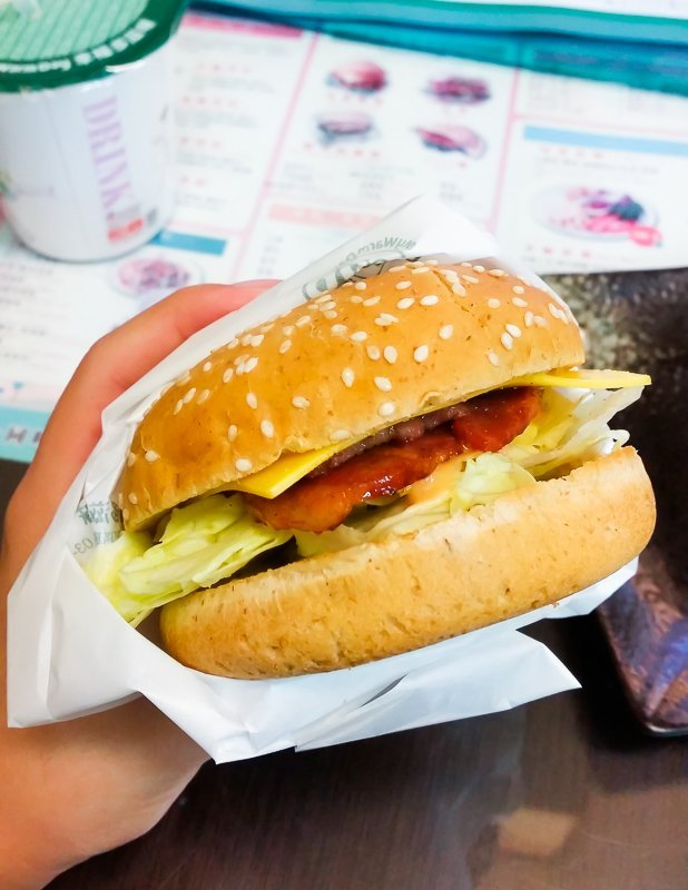 Turkey bacon burger - what to eat for breakfast in Ximending, Taipei, Taiwan