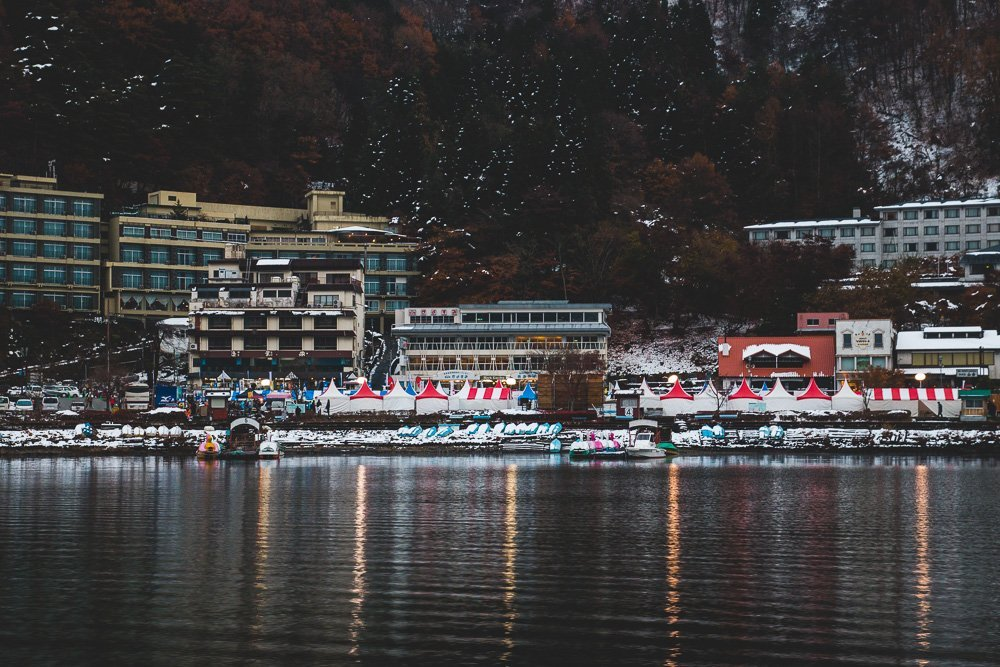 Views from the pleasure boat around Lake Kawaguchiko