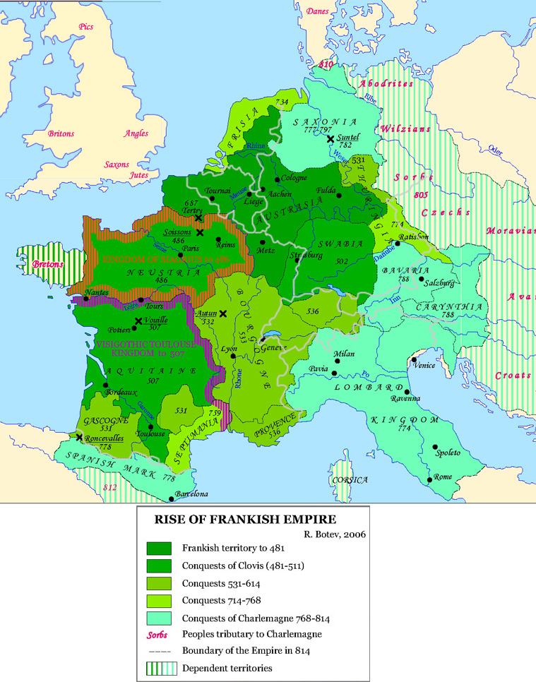 Map of the expansion of the Frankish empire from the Frankish homeland