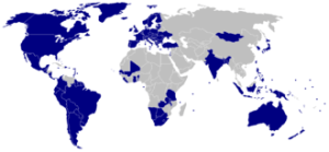 """Countries highlighted in blue are designated """"electoral democracies"""" in Freedom House's 2010 survey Freedom in the World"""