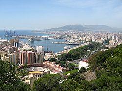 Málaga and its port as seen from Gibralfaro mountain.