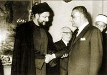 Mūsá aṣ-Ṣadr with Gamal Abdel Nasser in the 1960s
