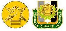 U.S. Army PSYOP branch of service collar insignia and regimental distinctive insignia.