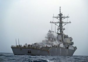 The Arleigh Burke-class guided-missile destroyer USS Barry (DDG 52) conducts an operational check of the countermeasure wash down sprinkler system. The countermeasure wash down system washes the ships exterior in case of chemical, biological or radiological contamination. Barry is on a routine deployment conducting maritime security operations in the U.S. 5th Fleet area of responsibility. (U.S. Navy photo by Mass Communication Specialist 3rd Class Jonathan Sunderman/Released)