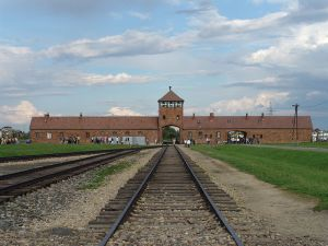 The main entrance to extermination camp Auschwitz-Birkenau