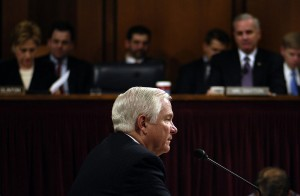 Gates responds to a question during the Senate Armed Services Committee hearing on December 5, 2006
