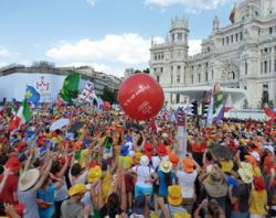 World Youth Day pilgrims in Cibeles square