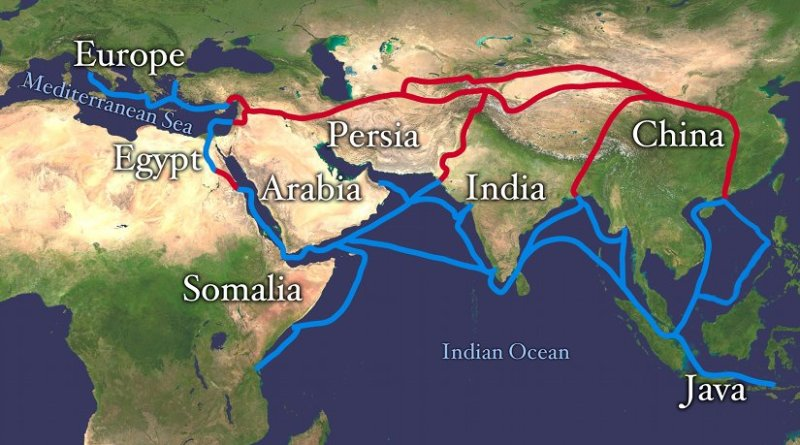 Main routes of the Silk Road. Source: Wikipedia Commons.
