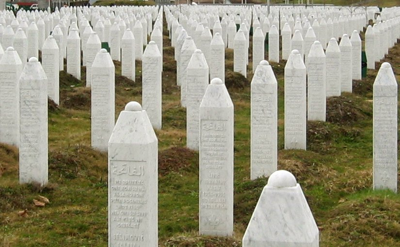 Gravestones at the Potočari genocide memorial near Srebrenica. Photo by Michael Büker, Wikipedia Commons.