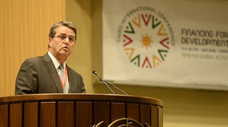 Roberto Azevêdo, Director-General of the WTO, speaking at the opening session of the International Conference on Financing for Development in Ethiopia, 13 July 2015. Photo © UNECA