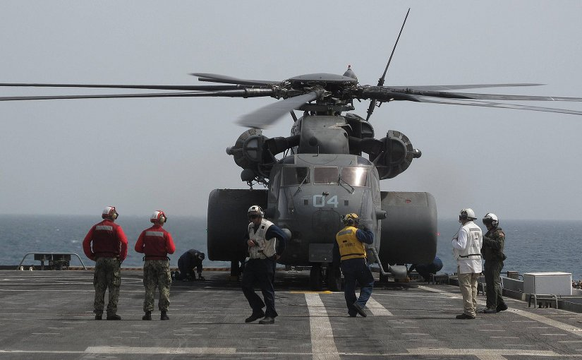 A U.S. Navy MH-53E Sea Dragon helicopter attached to Helicopter Mine Countermeasures Squadron (HM) 15 prepares for a mine countermeasures operation on the flight deck of the afloat forward staging base USS Ponce (AFSB(I) 15) during International Mine Countermeasures Exercise (IMCMEX) 13 in Bahrain May 18, 2013. DoD photo, LCDR T. Scot Cregan.