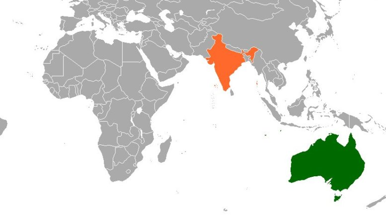 Location of Australia and India. Source: Wikipedia Commons.