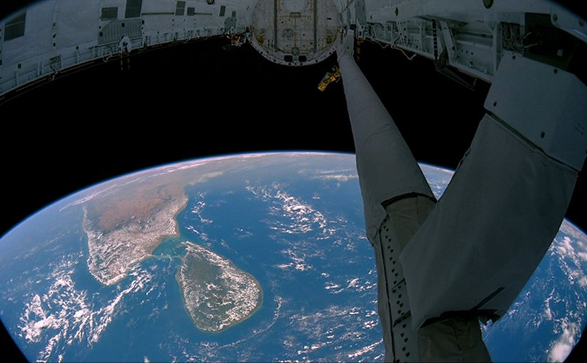 View of South India and Sri Lanka from the payload bay of the Space Shuttle in earth orbit. Source: NASA, Wikipedia Commons.