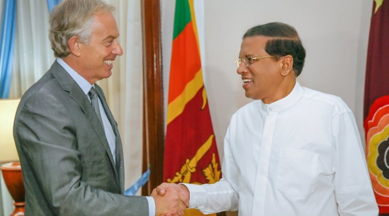Tony Blair with Sri Lanka's Maithripala Sirisena. Photo Credit: Sri Lanka Government.