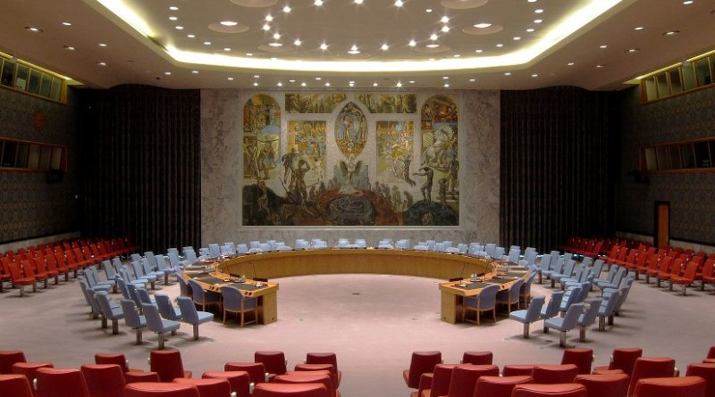 United Nations Security Council Chamber in New York City. Photo by Neptuul, Wikipedia Commons.