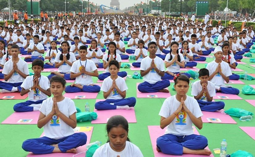 International Yoga Day 2015 in New Delhi, India. Photo by Narendra Modi, Wikipedia Commons.