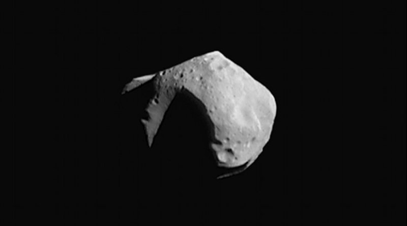 253 Mathilde, a C-type asteroid measuring about 50 kilometres (30 mi) across, covered in craters half that size. Photograph taken in 1997 by the NEAR Shoemaker probe. Photo Credit: NASA