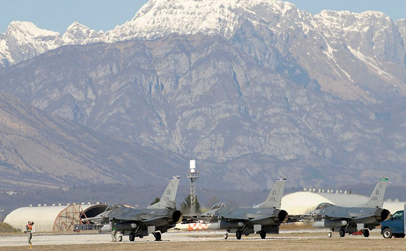 U.S. Air Force F-16 return to Aviano Air Base in Italy after supporting Operation Odyssey Dawn. U.S. Army photo by Staff Sgt. Tierney P. Wilson.