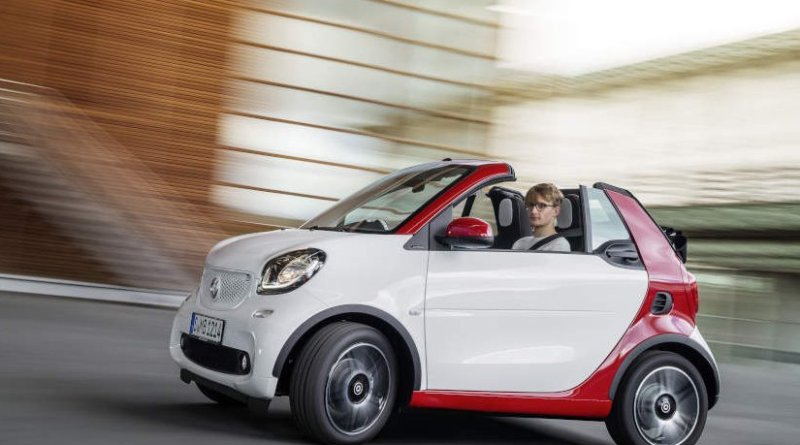 smart fortwo cabrio 2015: smart fortwo cabrio, passion, white / jupiter red. Photo: Mercedes-Benz.