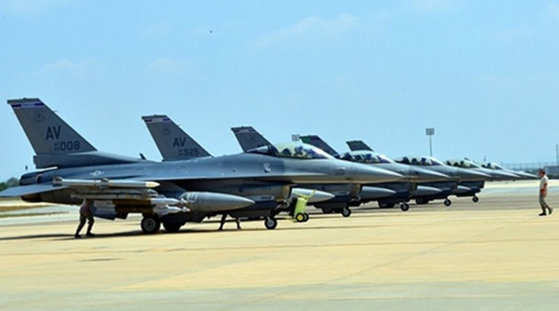 Six U.S. Air Force F-16 Fighting Falcons, support equipment and about 300 personnel arrived Aug. 9, 2015, at Incirlik Air Base, Turkey, from Aviano Air Base, Italy, to support Operation Inherent Resolve. U.S. Air Force photo by Senior Airman Michael Battles