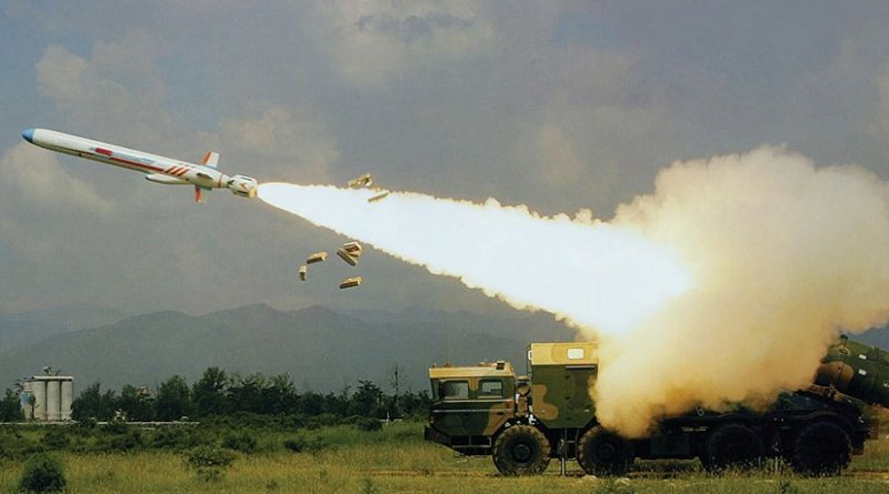 YJ-62 antiship cruise missile launched by transporter erector launcher (Courtesy Sino Defense)