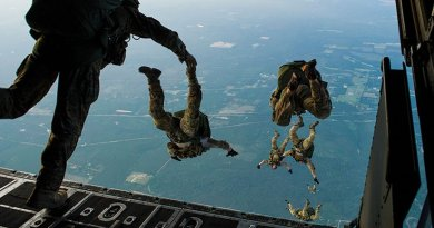 Airmen of 22nd special tactics squadron jump from MC-130H Combat Talon II during Emerald Warrior, DOD's only irregular warfare exercise (U.S. Air Force/Marleah Miller)