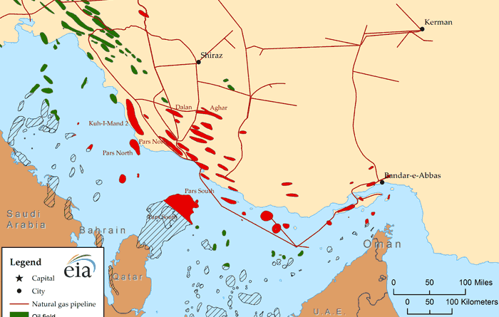 Iran's major natural gas fields Source: U.S. Energy Information Administration, IHS EDIN