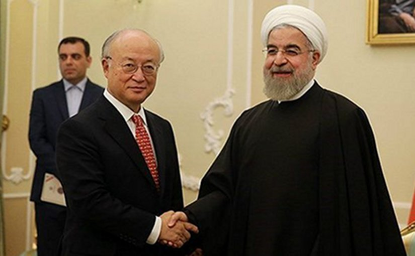 IAEA's Yukiya Amano meets Iran's President Rohani in Tehran.