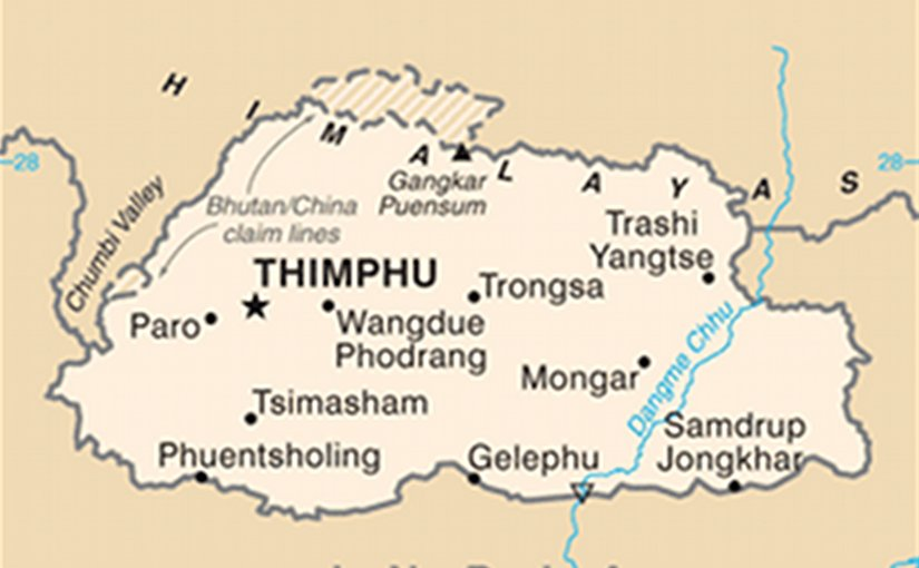 Map of Bhutan. Source: CIA World Factbook.