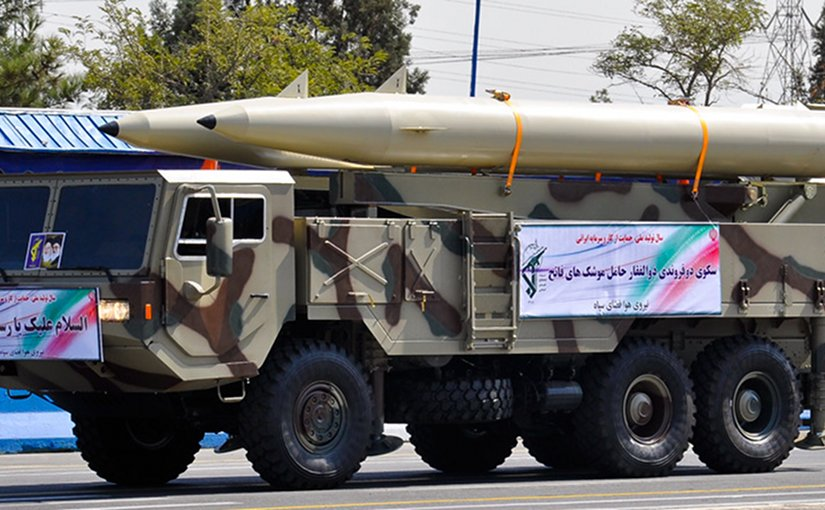 Picture of Fateh-110 missiles on TEL. Taken from Iranian armed forces parade in 2012. Photo Credit: M-ATF, from military.ir, Wikipedia Commons.
