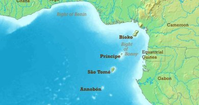Gulf of Guinea, highlighting locations of Sao Tome And Principe and Nigeria and Cameroon.