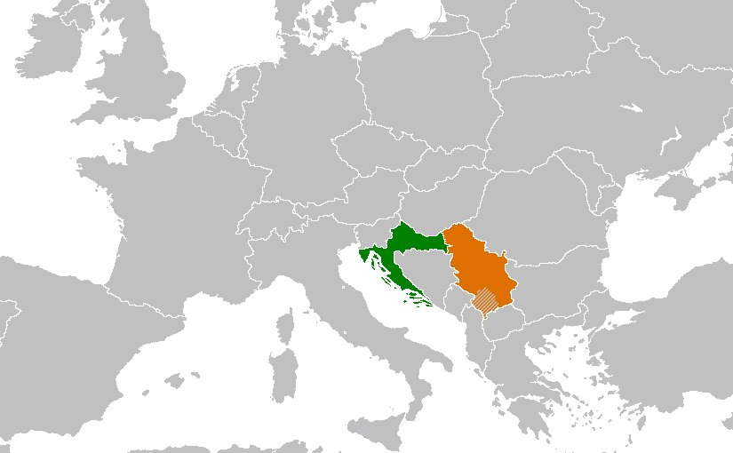 Location of Croatia (green) and Serbia (orange). Source: Wikipedia Commons.