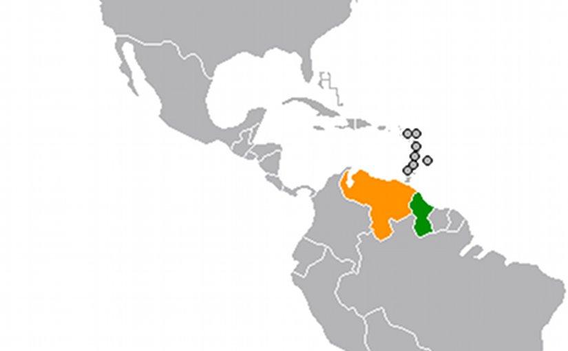 Location of Guyana (Green) and Venezuela (Orange). Source: WIkipedia Commons.