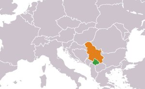 Location of Kosovo (Green) and Serbia (Orange). Source: Wikipedia Commons.