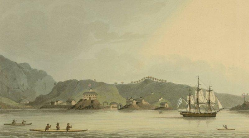 The Russian ship Neva visits Kodiak. Drawn by Capt Lisiansky, engraved by I. Clark, Wikipedia Commons.