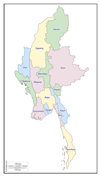 Figure 4. Administrative Map of Myanmar. Source: http://d-maps.com/carte.php?num_car=35249&lang=en