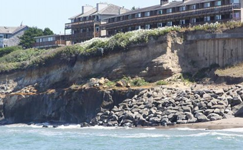 Erosion at the central Oregon coast. Photo Credit: OSU.