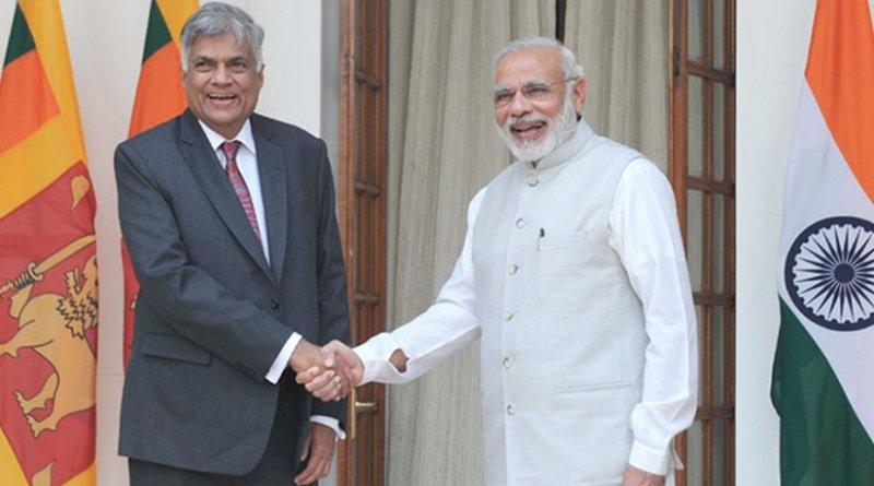 The Prime Minister, Shri Narendra Modi meeting the Prime Minister of the Democratic Socialist Republic of Sri Lanka, Mr. Ranil Wickremesinghe, at Hyderabad House, in New Delhi on September 15, 2015. Source: Office of India Prime Minister.