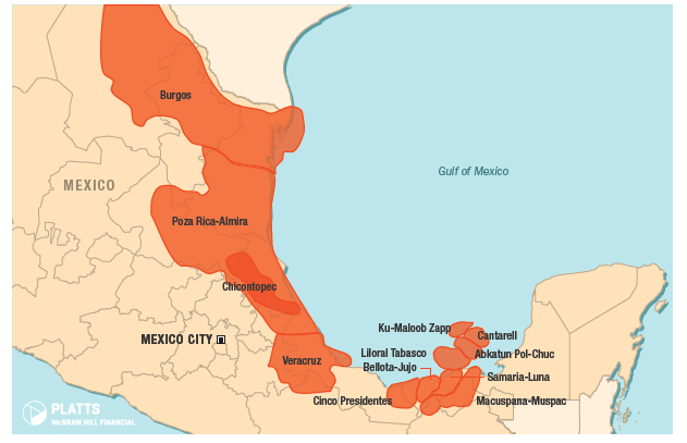 Mexico's oil and natural gas fields  Source: Bentek Energy a unit of Platts