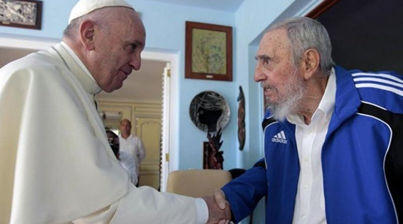 ope Francis and Fidel Castro in a private meeting, Sept. 20, 2015. Photo courtesy of Alex Castro via CNA.