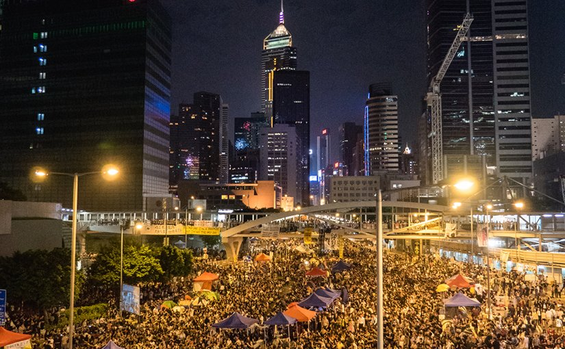 Hong Kong Umbrella Protest in October 2014. Photo by Pasu Au Yeung, Wikipedia Commons.