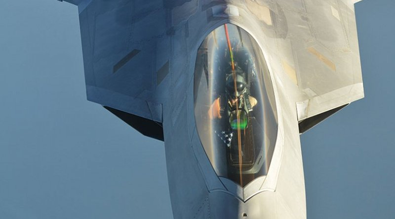 U.S. Air Force F-22 Raptor aircraft after conducting airstrikes in Syria as part of large coalition to strike Islamic State of Iraq and the Levant targets, September 2014 (DOD/Jefferson S. Heiland)