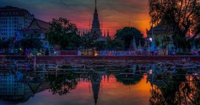 Sunset in Phnom Penh, Cambodia.