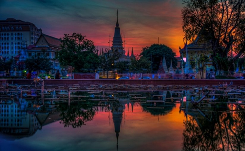 Sunset in Phnom Penh, Cambodia.